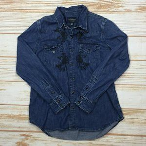 Lucky Brand Denim Embroidered Button Down Shirt